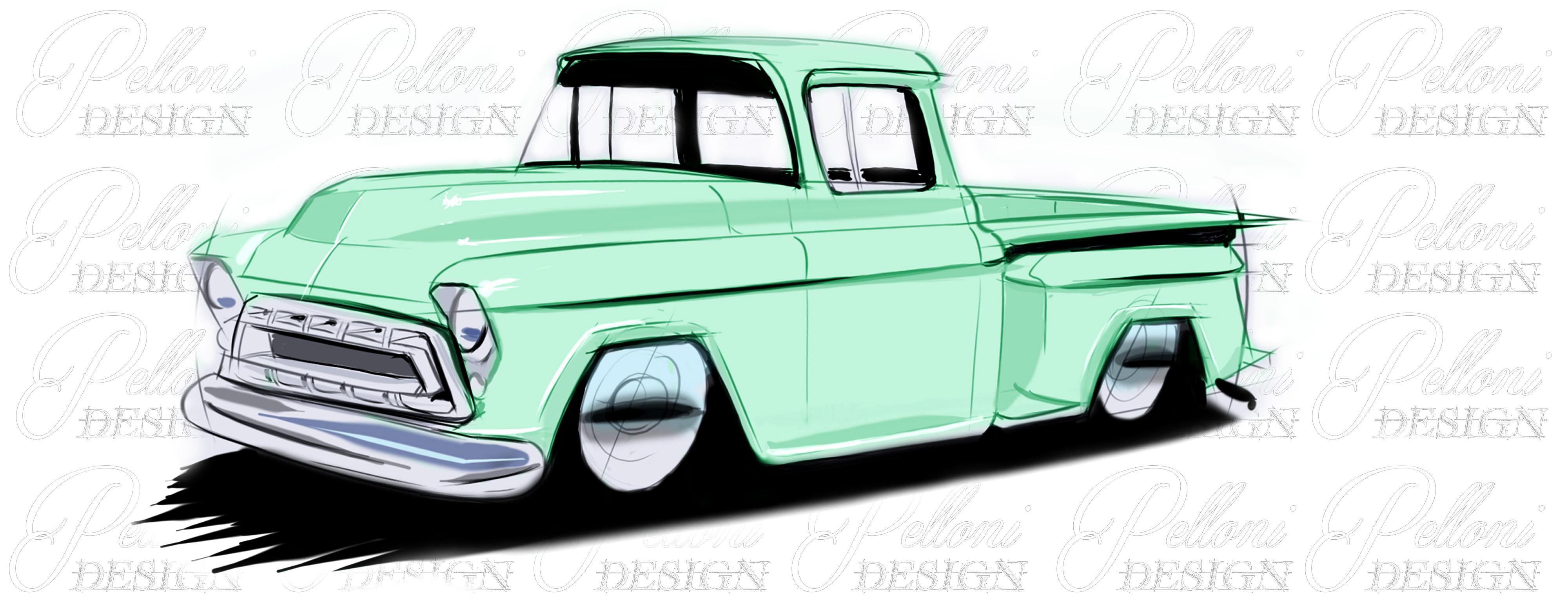 1957 Chevrolet Side Step Truck Hand Drawn Digtal Car Sketch Rendering