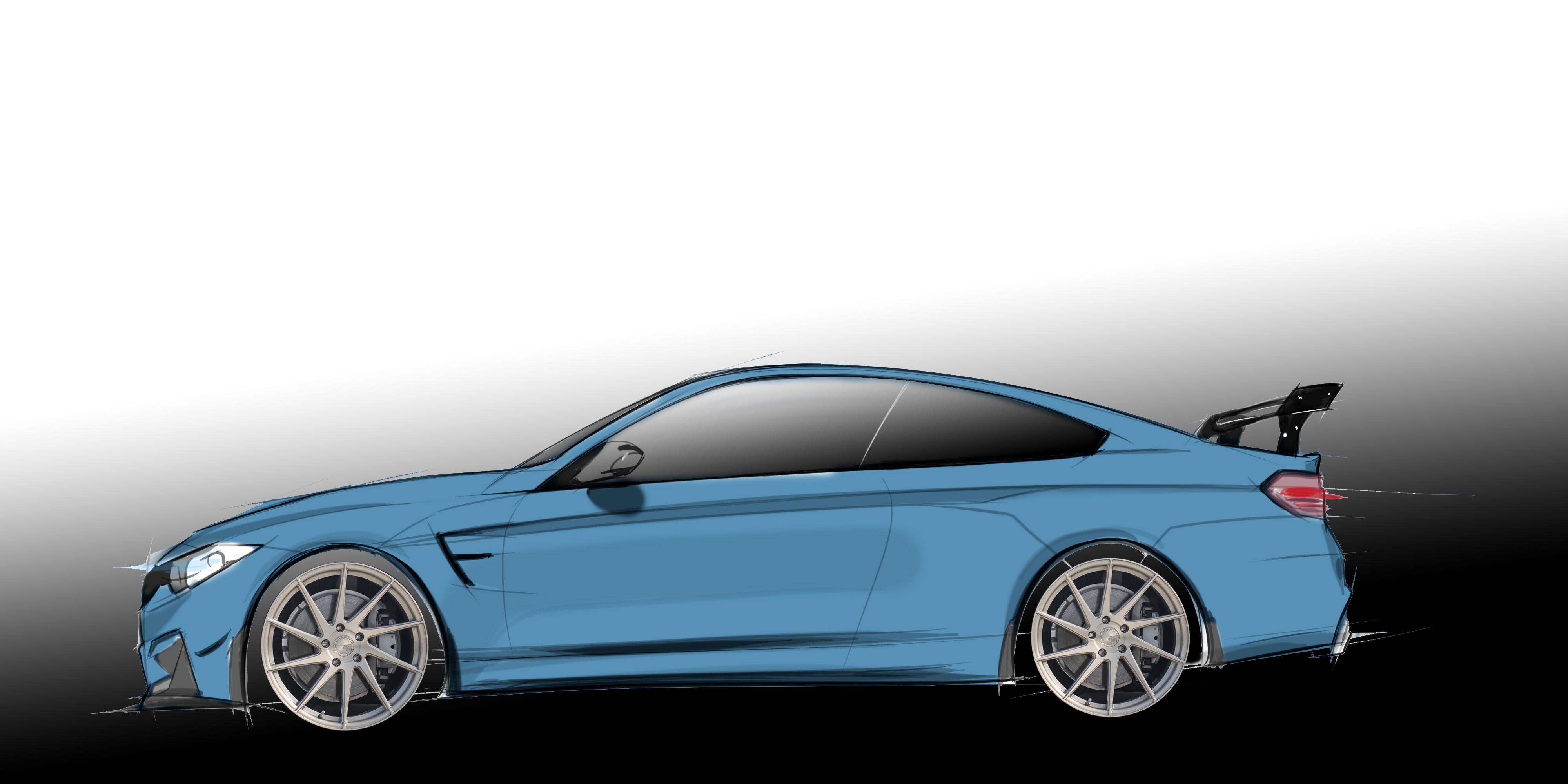 Blue BMW M4 F80 F82 Hand Drawn Digtal Car Sketch Rendering