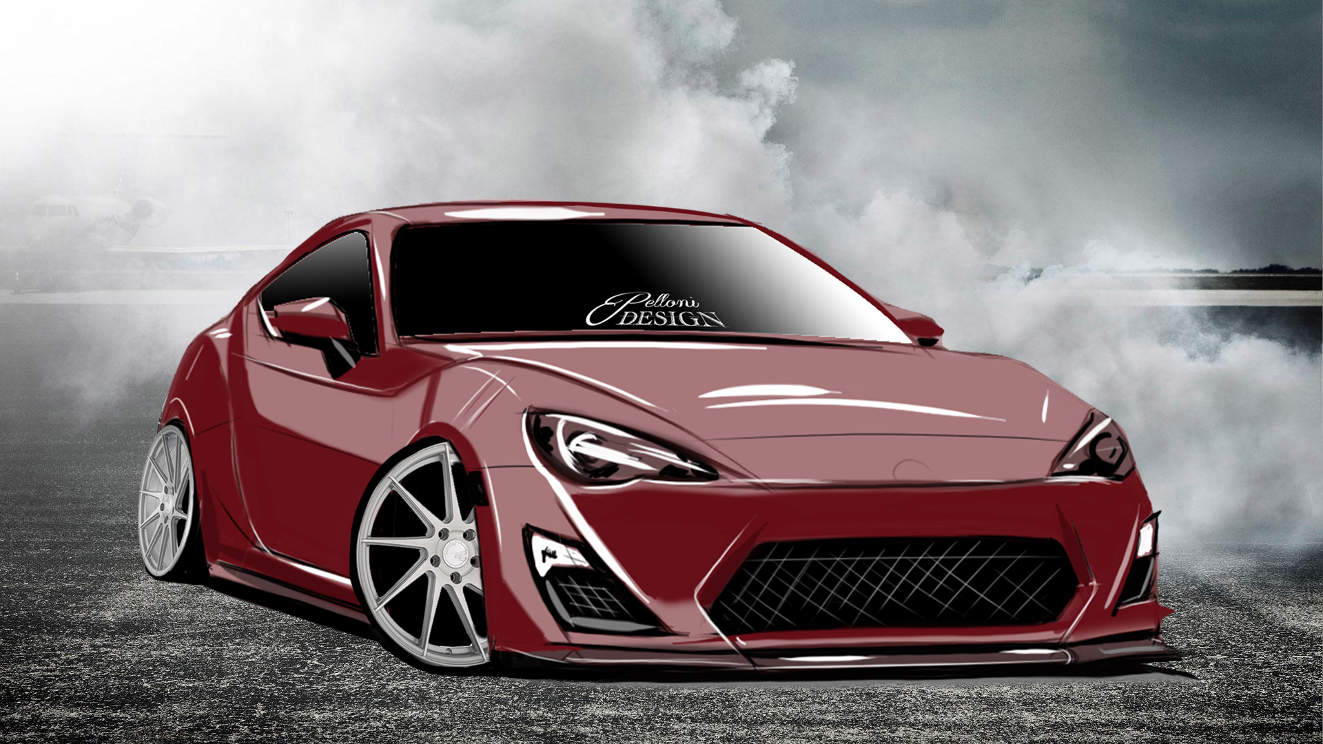 Toyota Scion FRS BRZ Hand Drawn Digtal Car Sketch Rendering