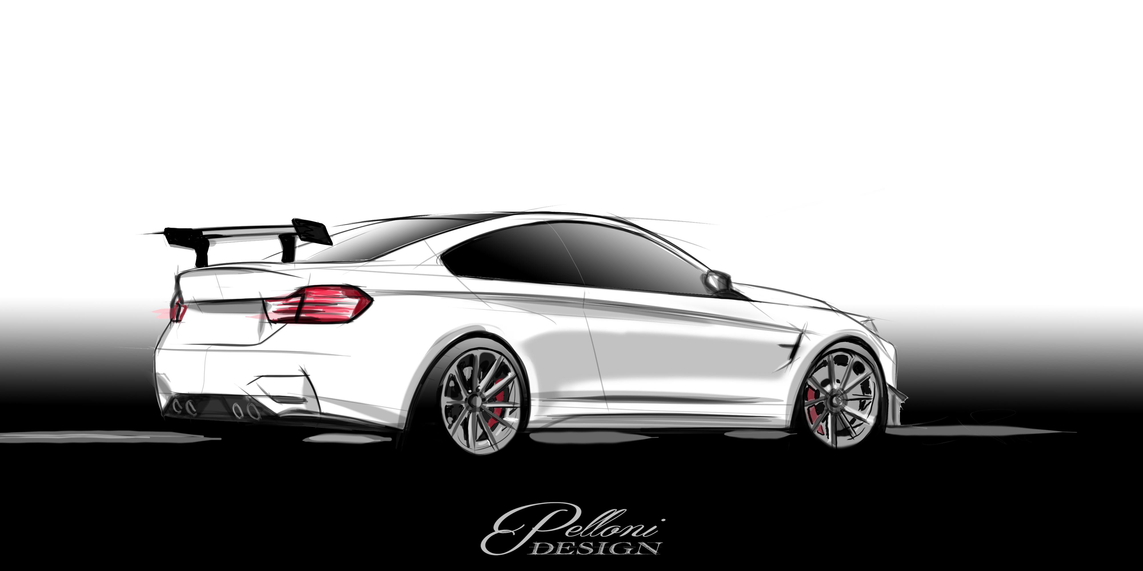 White BMW M4 F80 F82 Hand Drawn Digtal Car Sketch Rendering