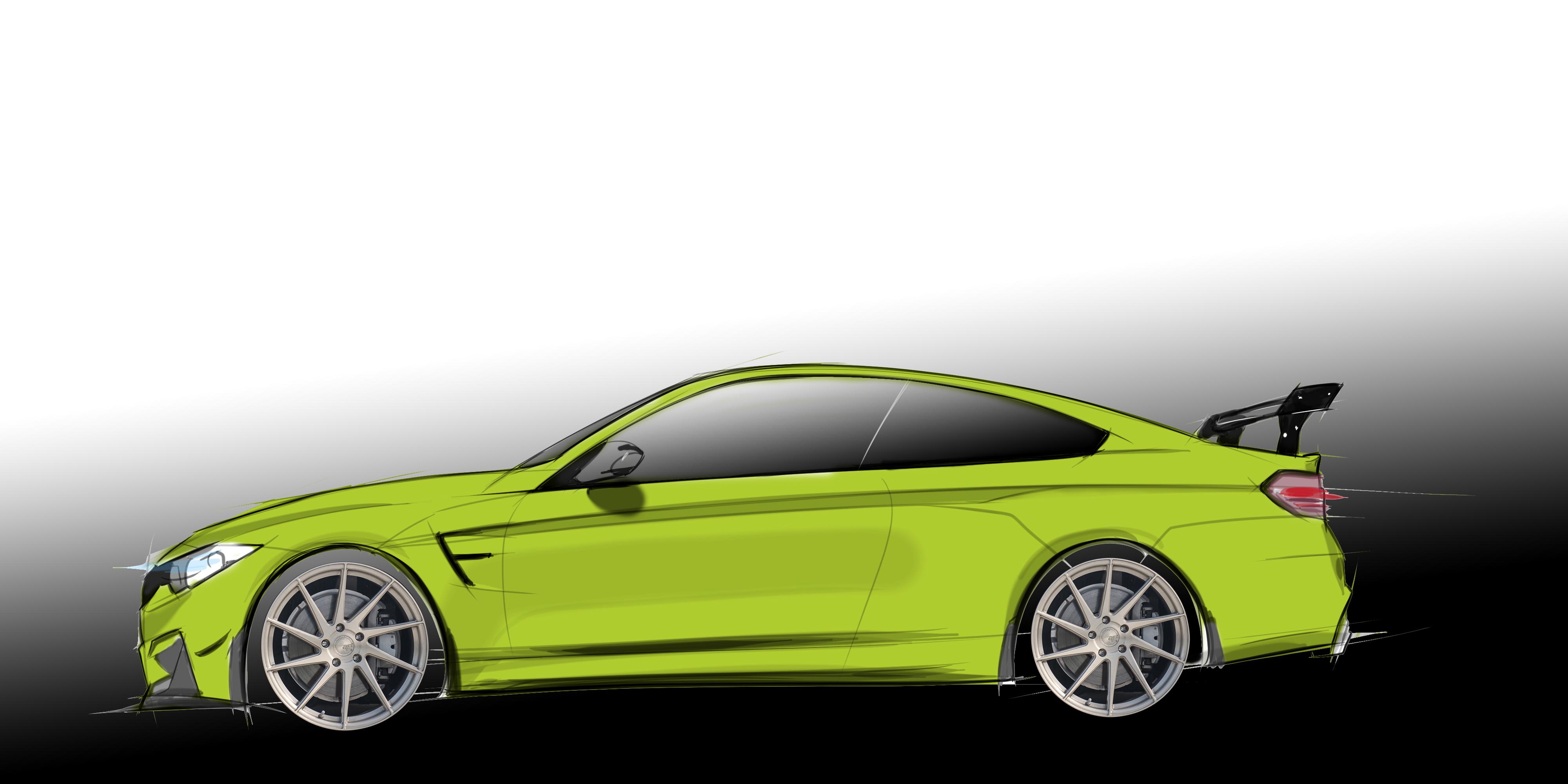 Green BMW M4 F80 F82 Hand Drawn Digtal Car Sketch Rendering