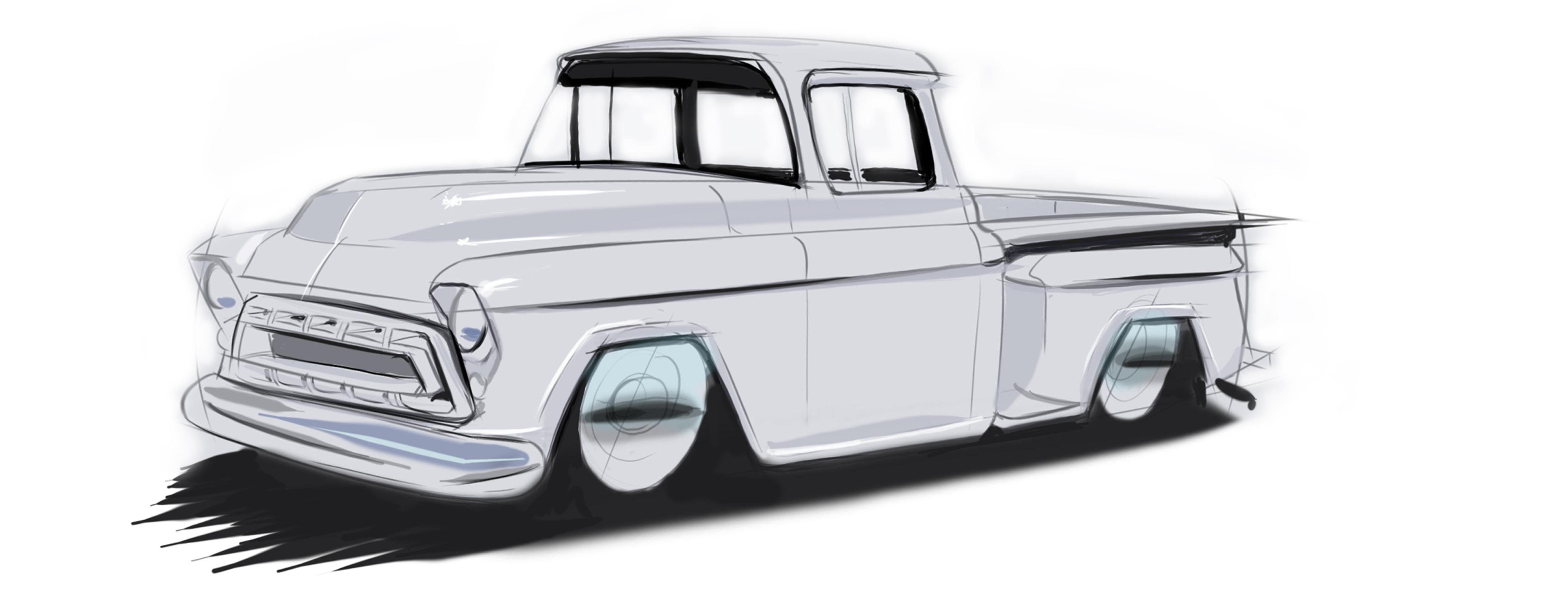 1957 Chevrolet Step Side Truck Hand Drawn Digtal Car Sketch Rendering