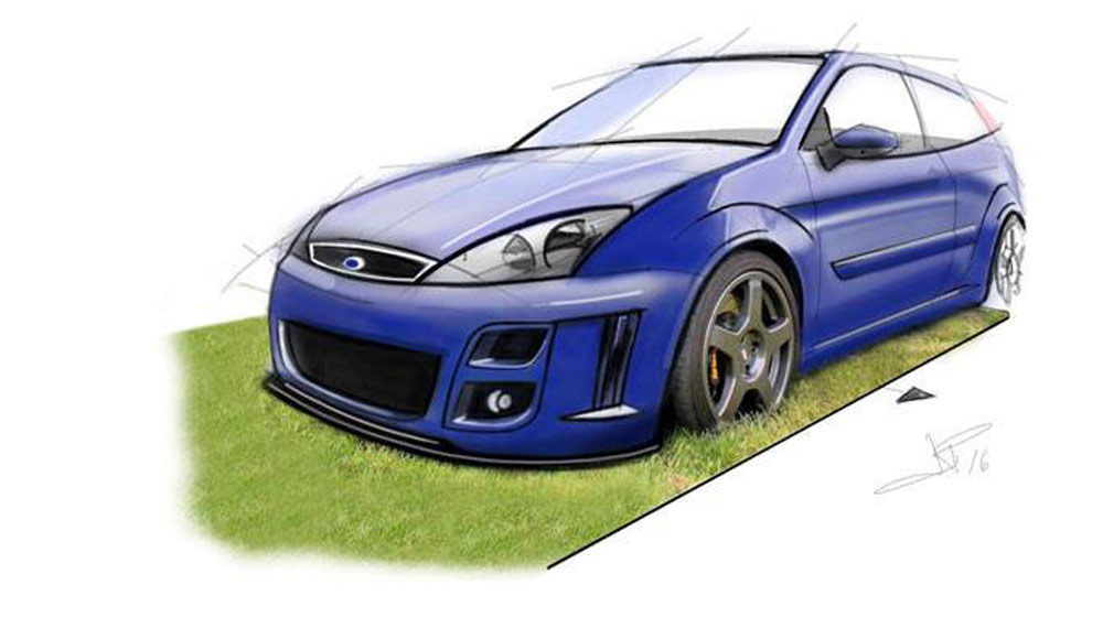 MK1 Ford Focus RS Hand Drawn Digtal Car Sketch Rendering