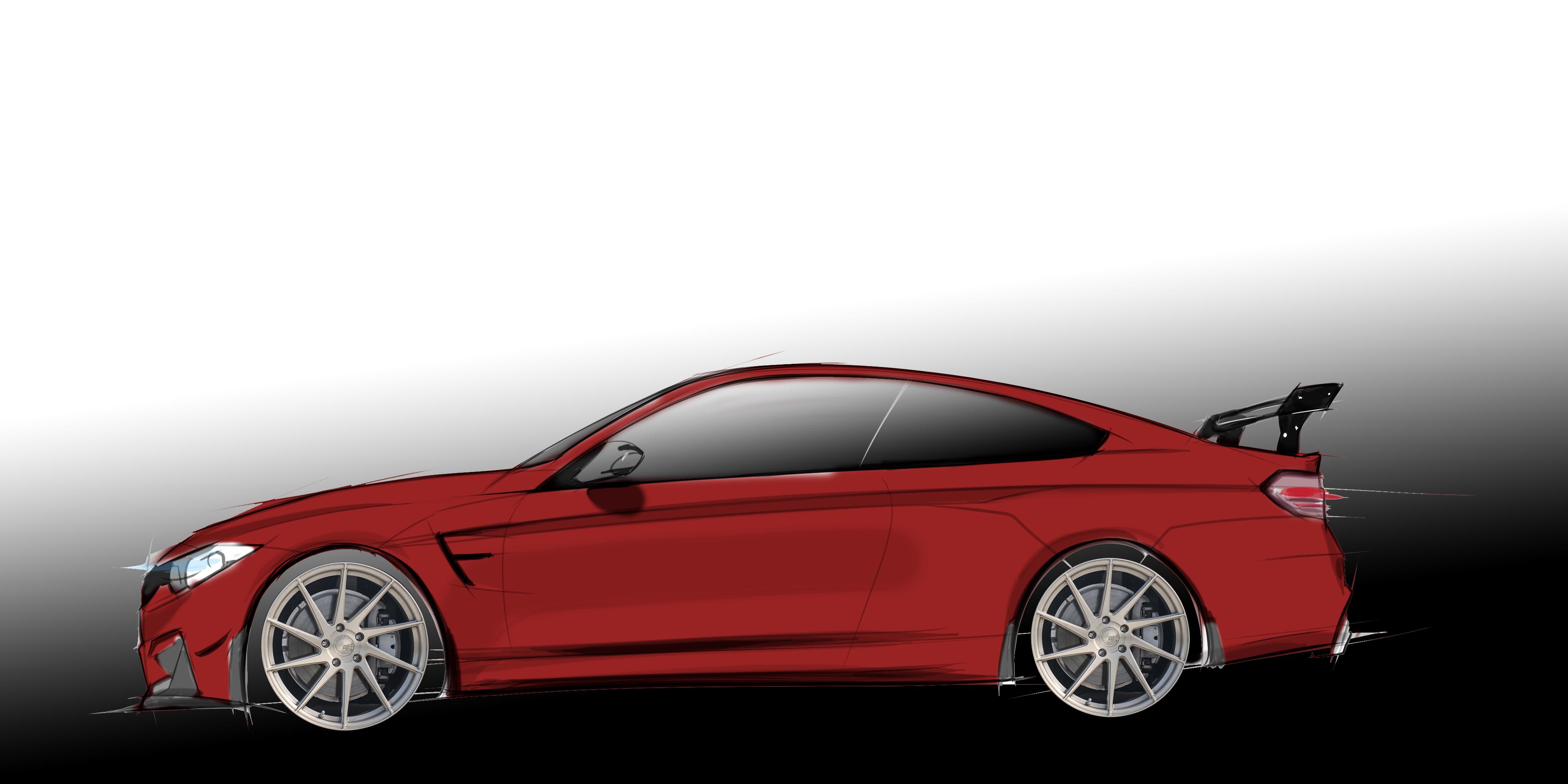 Red BMW M4 F80 F82 Hand Drawn Digtal Car Sketch Rendering