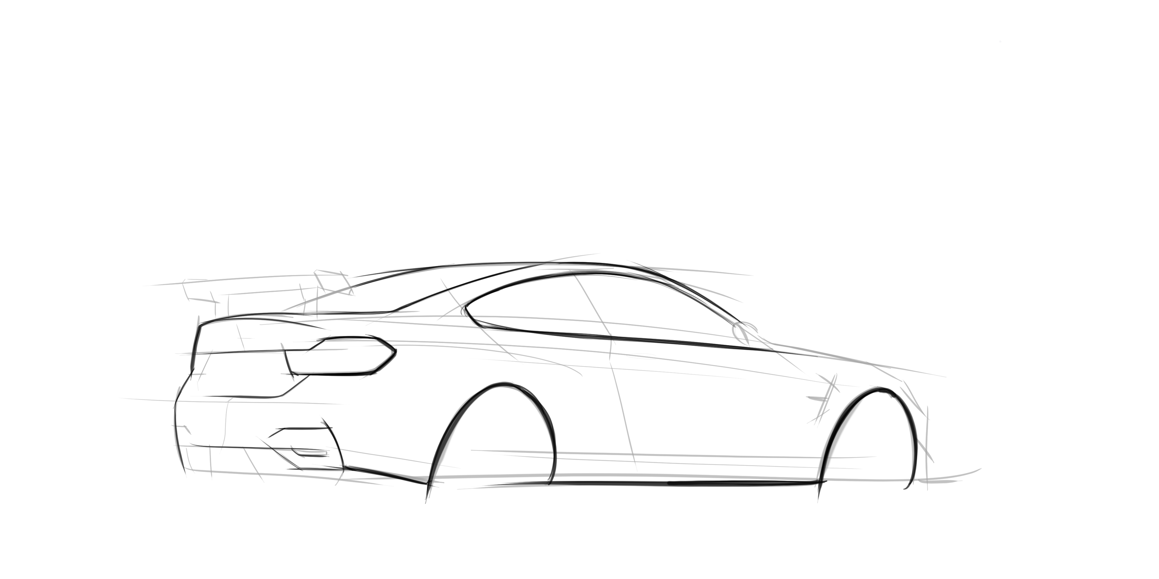 BMW M4 Hand Made Digital Car Sketch Rendering Drawing