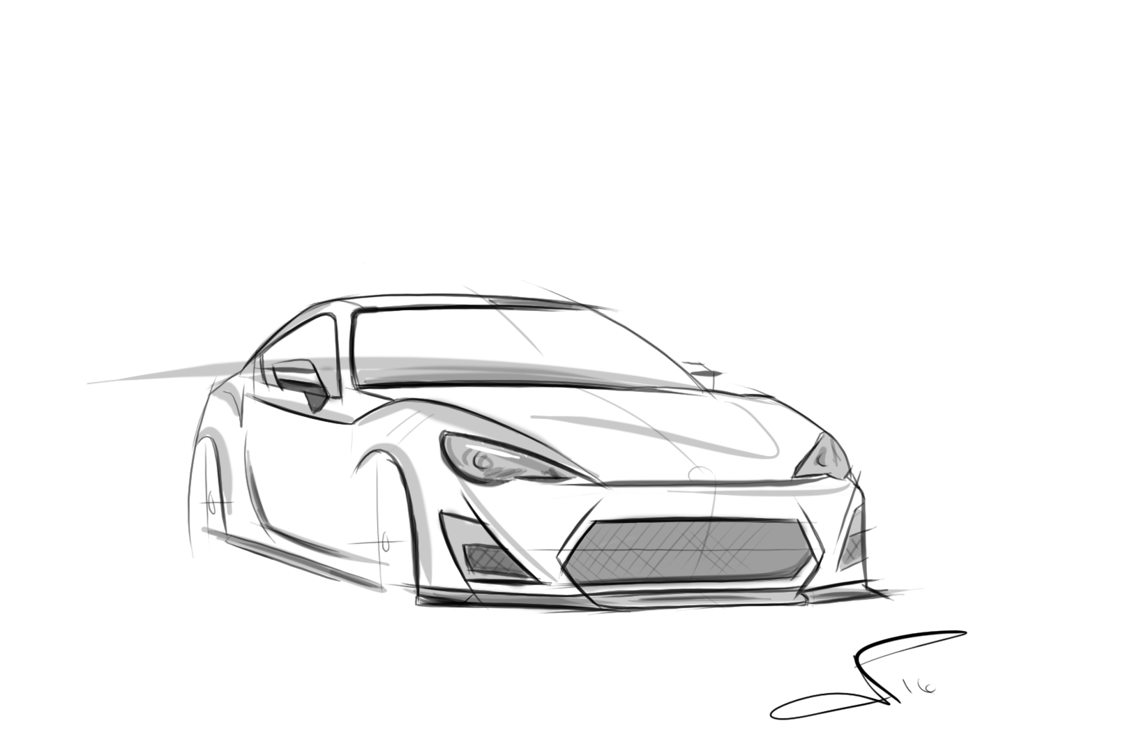 Toyota Scion FRS BRZ GT86 Hand Made Digital Car Sketch Rendering Drawing