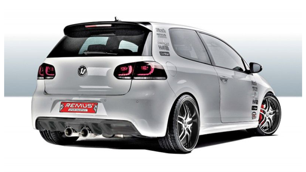 remus r32 style center exit exhaust for gti mk6
