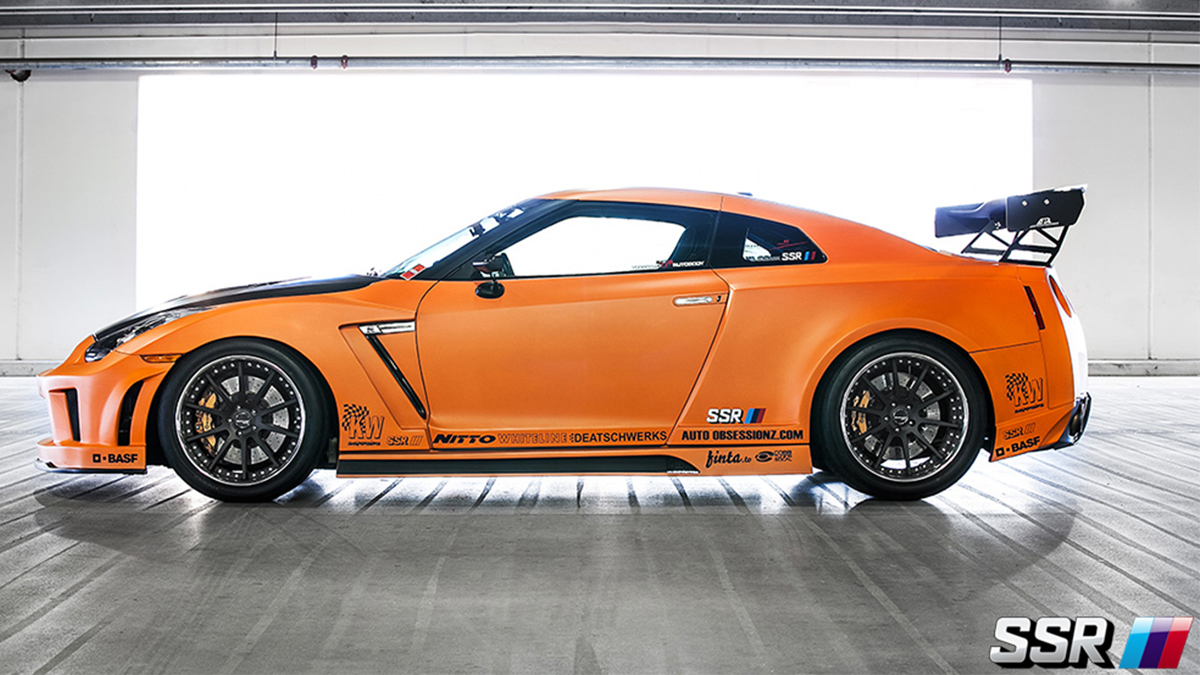 widebody R35 GTR Godzilla SSR CV01 black wheels, modbargains