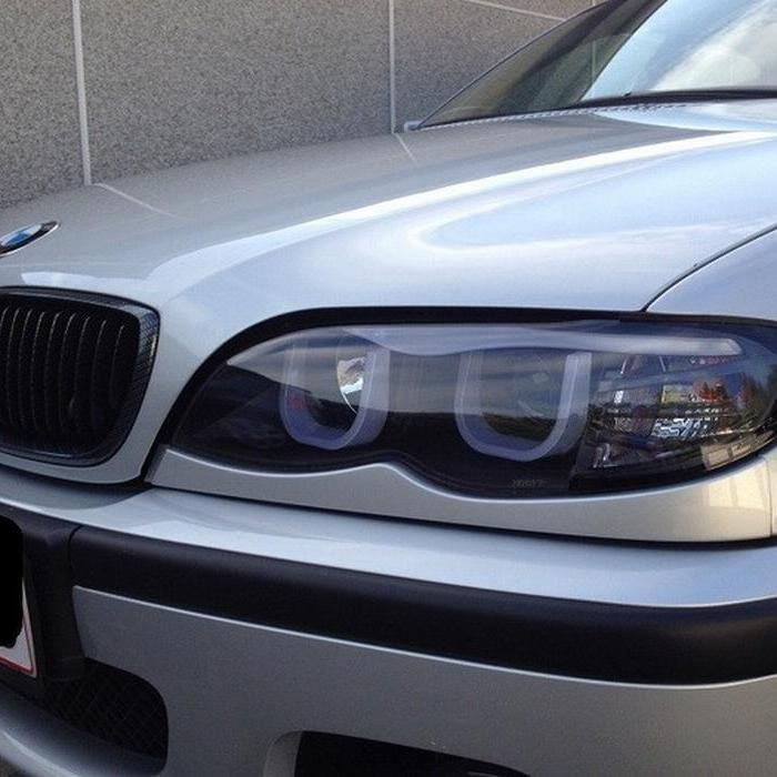 Spyder Black Projector LED 3DHalo Headlights for 2002-2005 E46 BMW 325i/ 328i/ 330i Sedan PRO-YD-BMWE4602-4D-3DDRL-BK