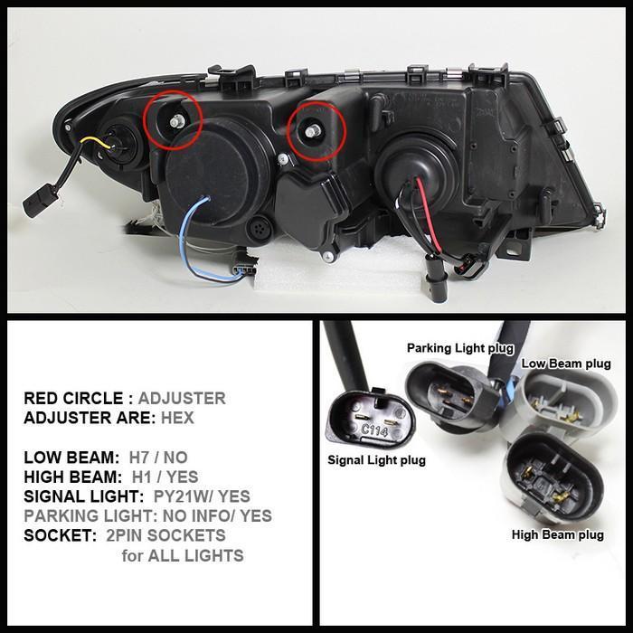Spyder Black Projector LED Halo Headlights for 2002-2005 E46 BMW 325i/ 328i/ 330i Sedan