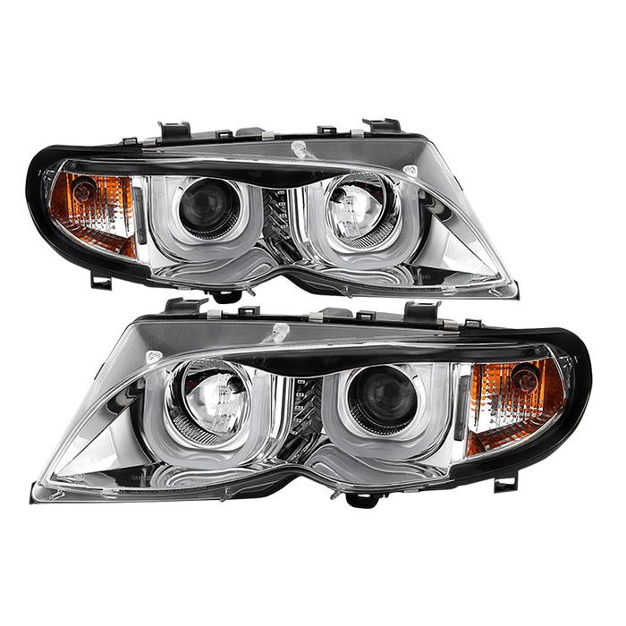Spyder Chrome Projector LED 3DHalo Headlights for 2002-2005 E46 BMW 325i/ 328i/ 330i Sedan