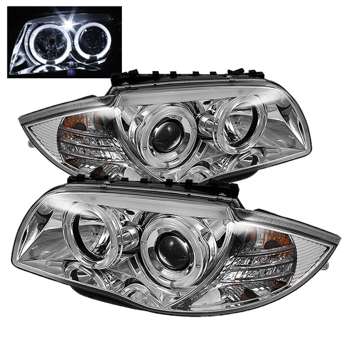Spyder LED Halo Chrome Projector Headlights for 2008-2011 1-Series BMW [E87] PRO-YD-BMWE87-HL-C