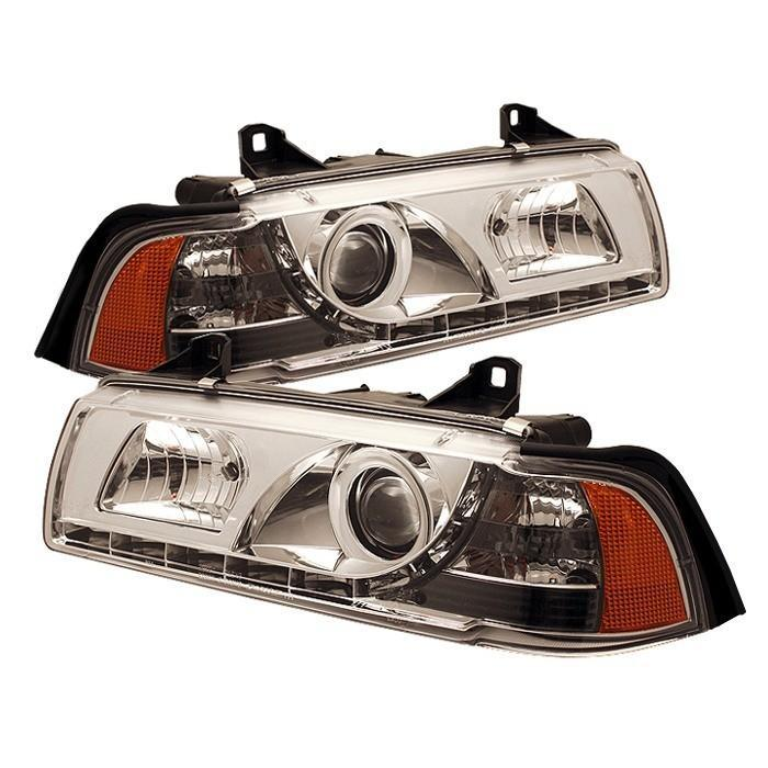 Spyder Chrome Projector Headlights for 1992-1998 BMW 318i/ 325i/ 328i [E36] Coupe