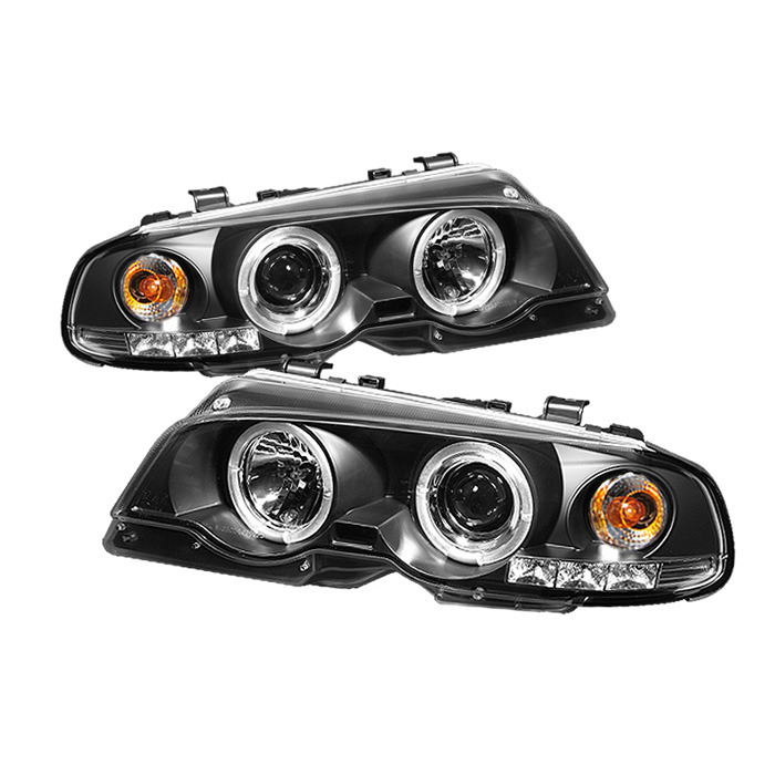 Spyder Black Projector LED Halo Headlights for 2000-2003 E46 BMW 318i/ 325/i 328i Sedan