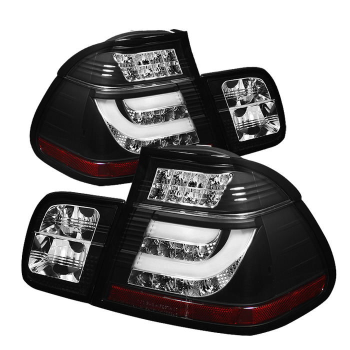 Spyder Black Lightbar Style LED Tail Lights for 2002-2005 BMW 325i/ 328i/ 330i [E46] Sedan