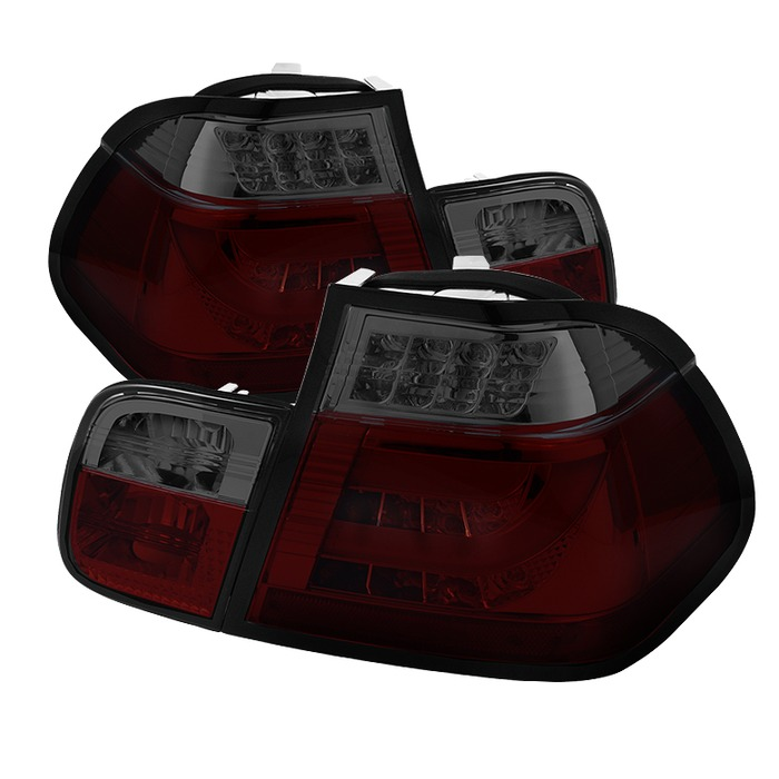 Spyder Red Smoke Lightbar Style LED Tail Lights for 2002-2005 BMW 325i/328i/ 330i [E46] Sedan