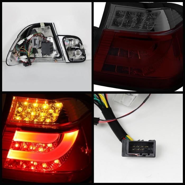Spyder Red Smoke Lightbar Style LED Tail Lights For 2002