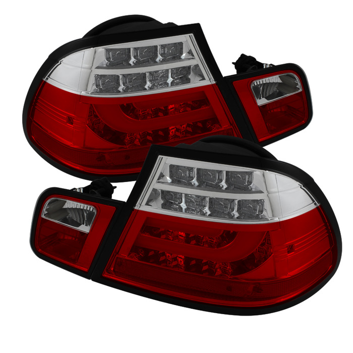 Spyder Red Clear Lightbar Style LED Tail Lights for 2004-2006 E46 BMW 325i/ 328i/ 330i Coupe ALT-YD-BE4604-LBLED-RC