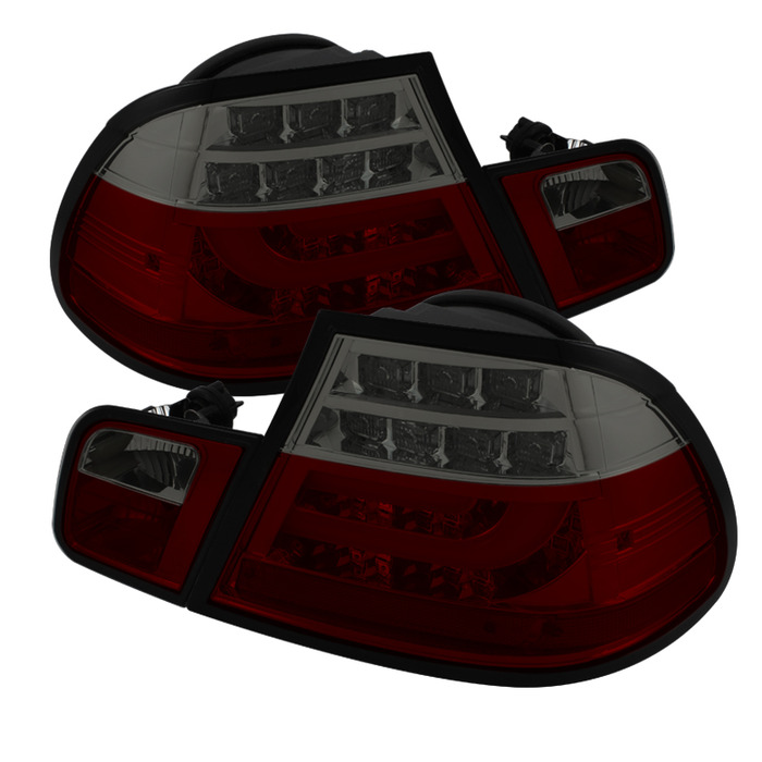 Spyder Red Smoke Lightbar Style LED Tail Lights for 2004-2006 E46 BMW 325i/ 328i/ 330i Coupe ALT-YD-BE4604-LBLED-RS