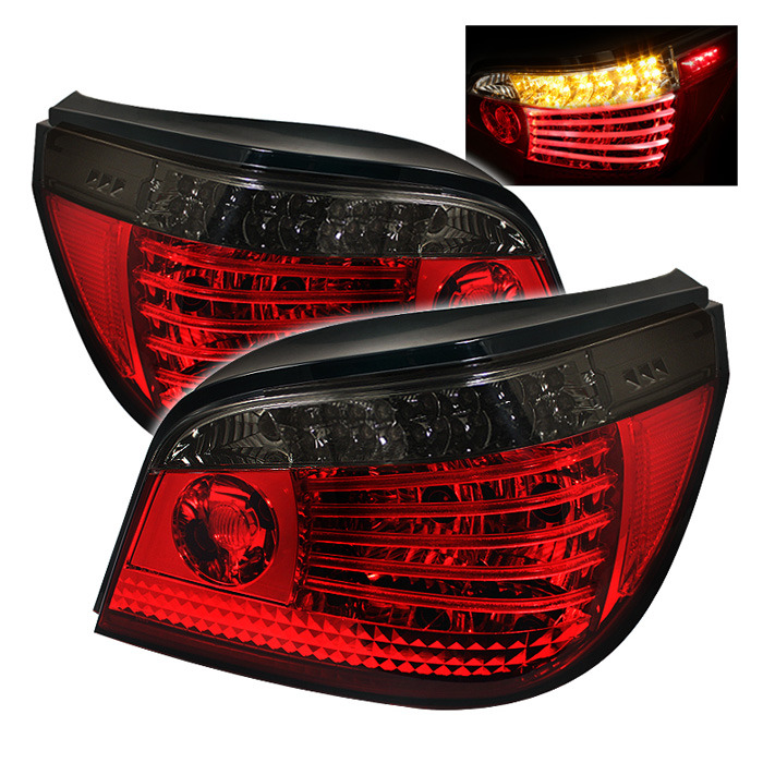 Spyder LED Red Smoked Tail Lights for 2004-2007 BMW 525i/530i/535i/550i/M5 [E60] ALT-YD-BE6004-LED-RS
