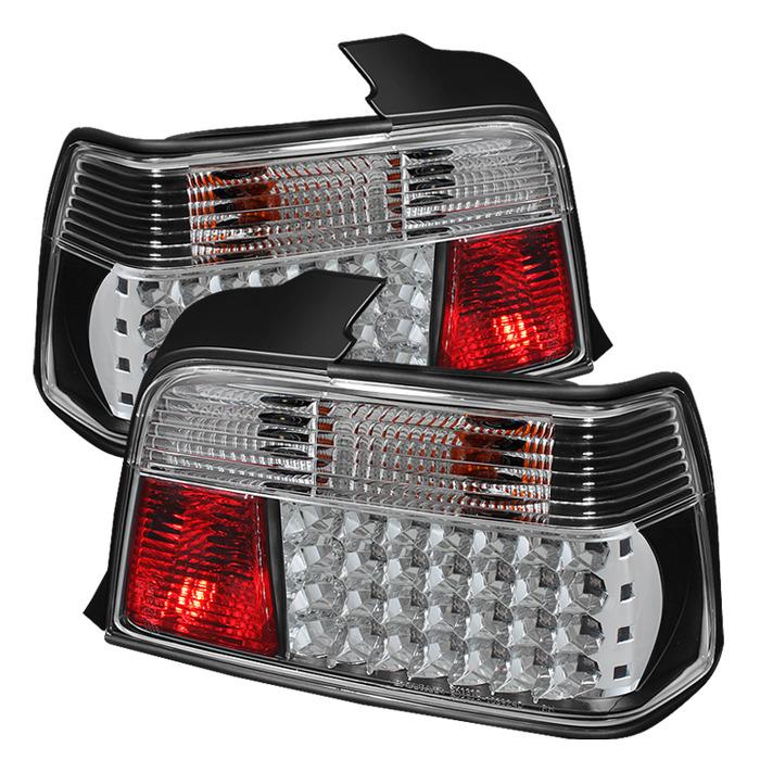 Spyder Black/Clear LED Tail Lights for 1992-1998 BMW 318i/325i/328i [E36] Sedan ALT-YD-BE3692-4D-LED-BK