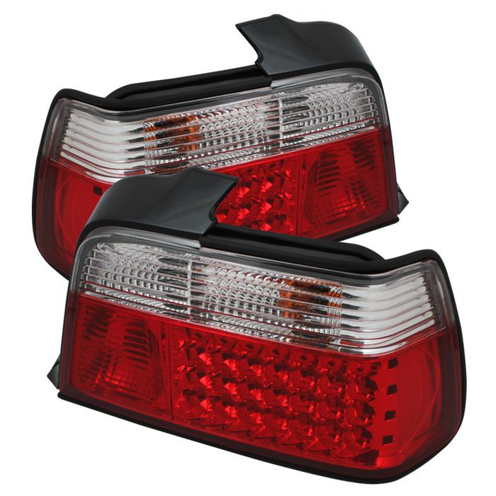 Spyder Red/Clear LED Tail Lights for 1992-1998 BMW 318i/325i/328i [E36] Sedan