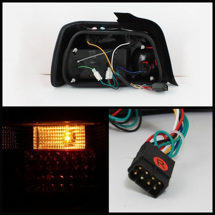 Spyder Red/Smoke LED Tail Lights for 1992-1998 BMW 318i/325i/328i [E36] Sedan ALT-YD-BE3692-4D-LED-RS
