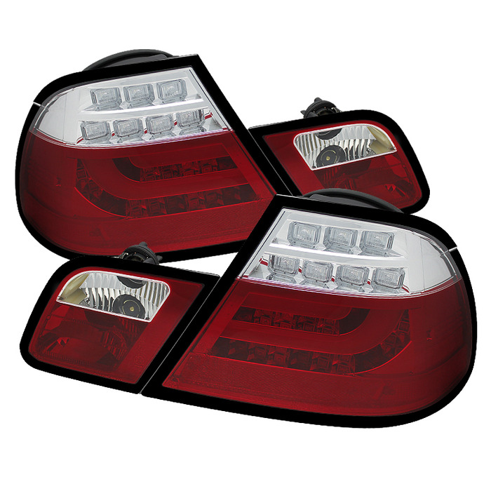 Spyder Red Clear Lightbar Style LED Tail Lights for 2000-2003 BMW 325i/ 328i/ 330i [E46] Coupe