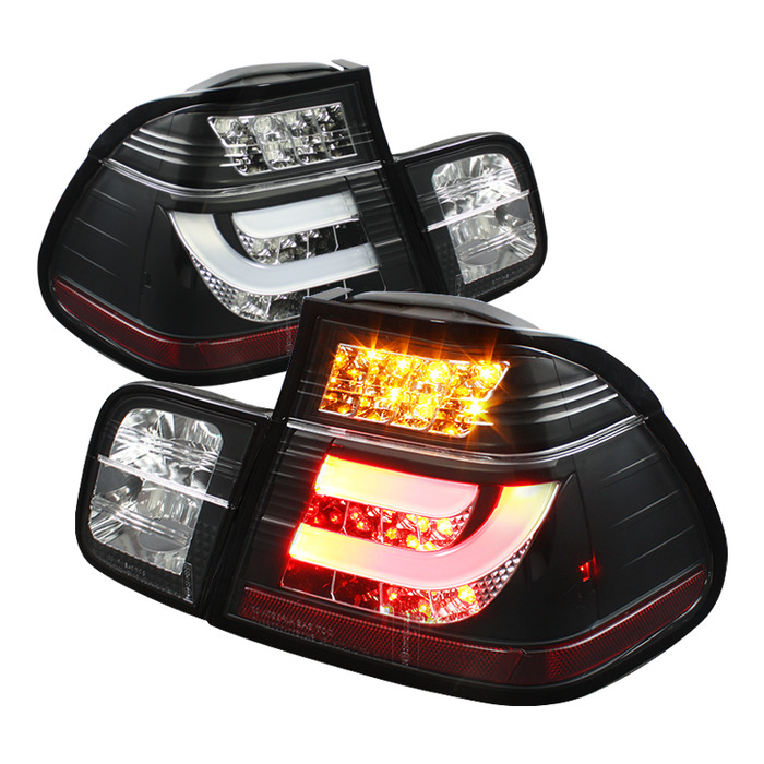 Spyder Black Lightbar Style LED Tail Lights for 1999-2001 BMW 325i/ 328i/ 330i [E46] Sedan