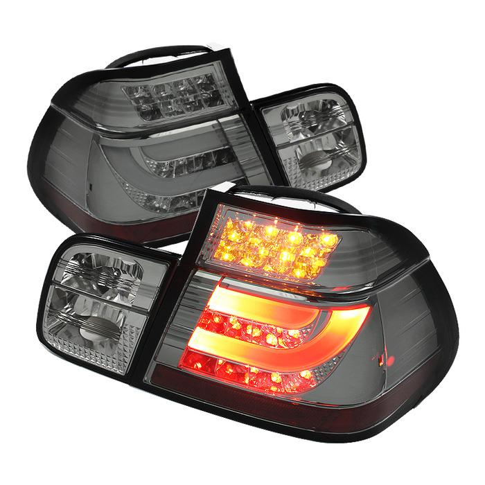 Spyder Smoked Lightbar Style LED Tail Lights for 1999-2001 BMW 325i/ 328i/ 330i [E46] Sedan