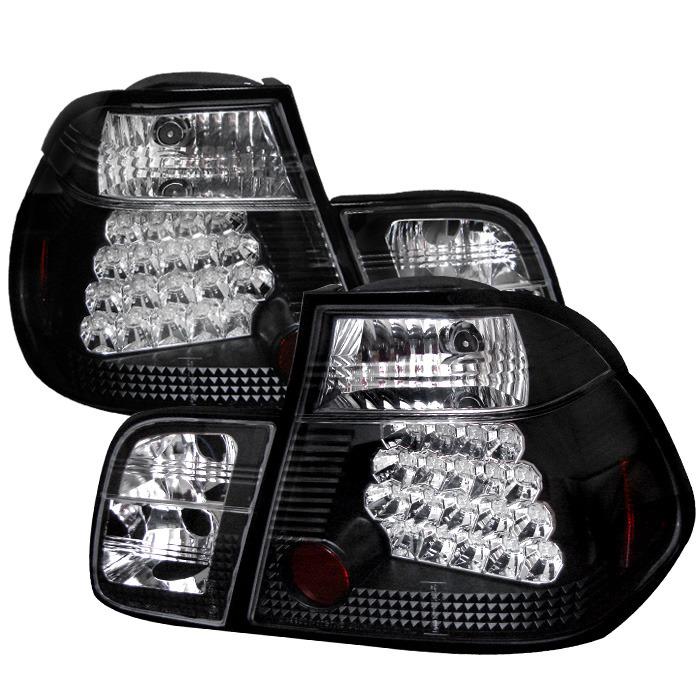 Spyder Black LED Tail Lights for 1999-2001 BMW 325i/ 328i/ 330i [E46] Sedan