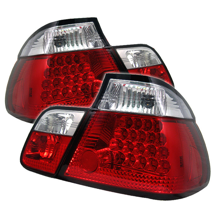 Spyder Red Clear LED Tail Lights for 1999-2001 BMW 325i/ 328i/ 330i [E46] Sedan