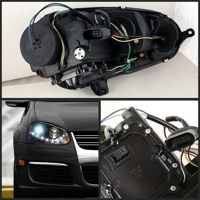 Spyder Projector Black Headlights HID Only for Volkswagen Golf/GTI V[non-R32]PRO-YD-VG06-HID-DRL-BK