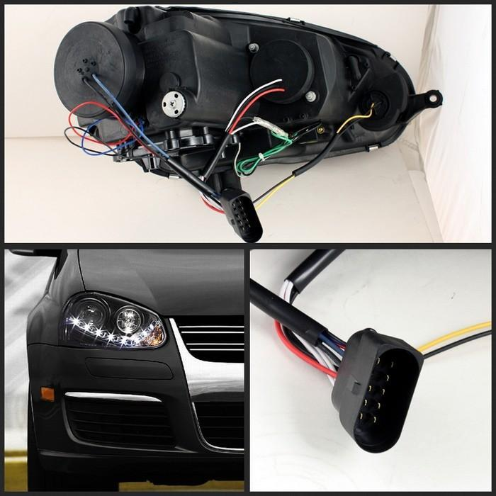 Spyder Projector Black Headlights Halogen Only for Volkswagen Golf/GTI V[non-R32]PRO-YD-VG06-DRL-BK