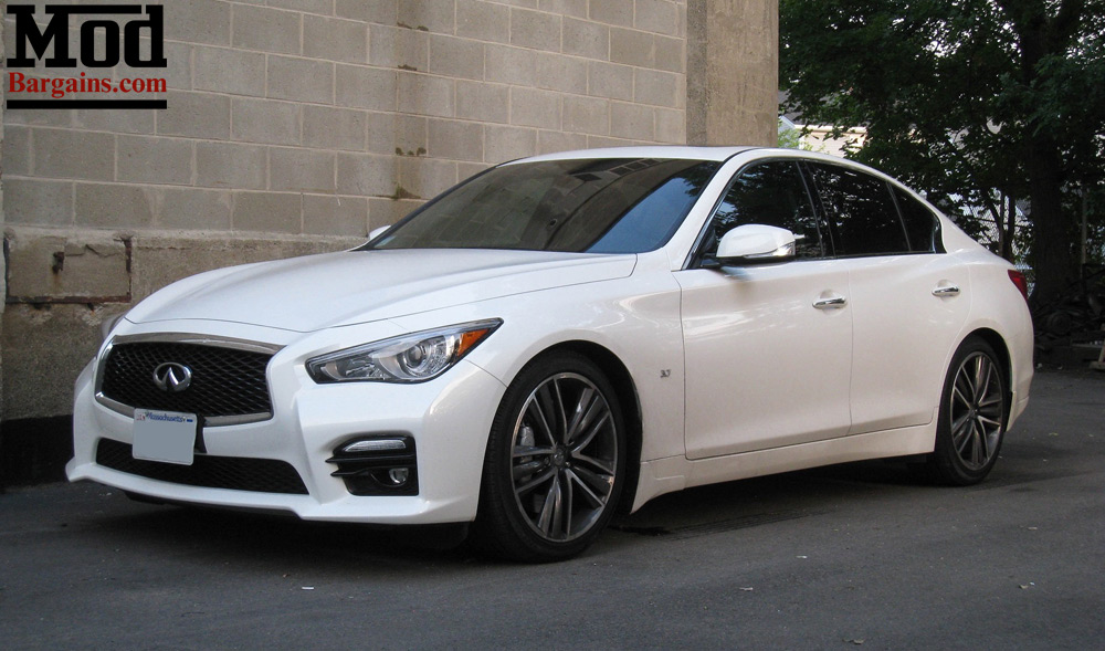 white infiniti q50 awd tanabe lowering springs TNF189 front angle