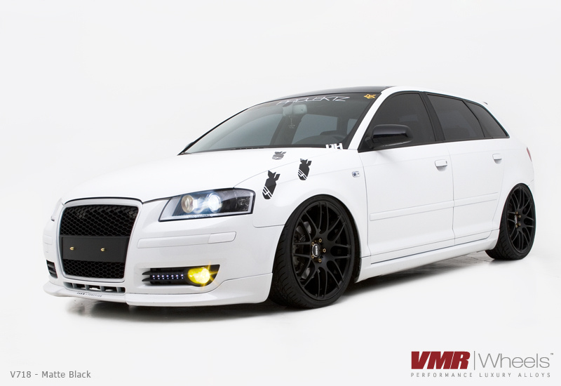 VMR V718 Wheels Matte Black on White 8P Audi A3