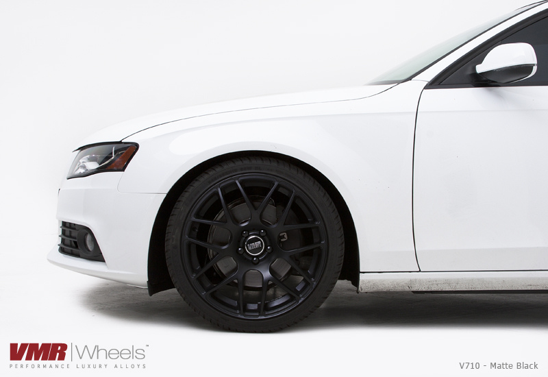 VMR V710 Matte Black on White Audi Close