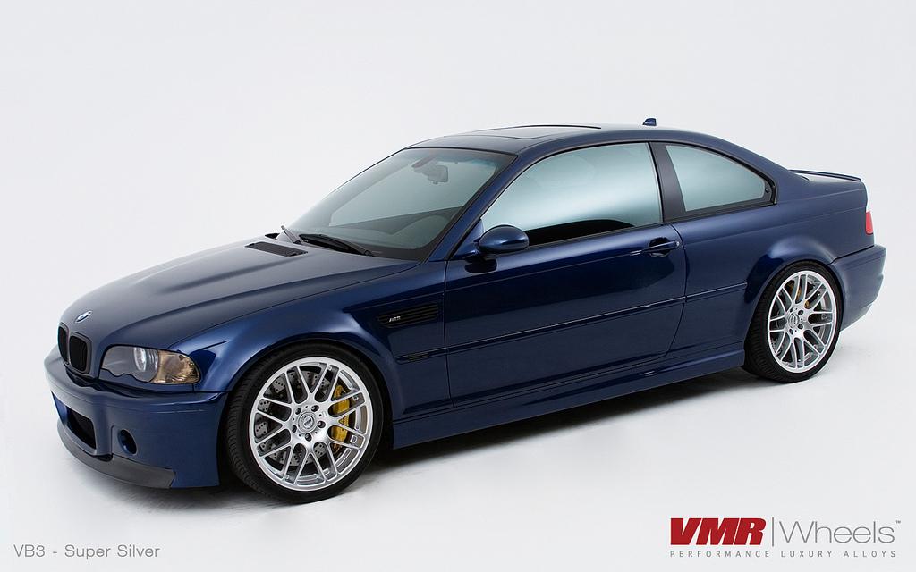 "VMR Wheels VB3 CSL Replica 19"" Silver on Blue E46"