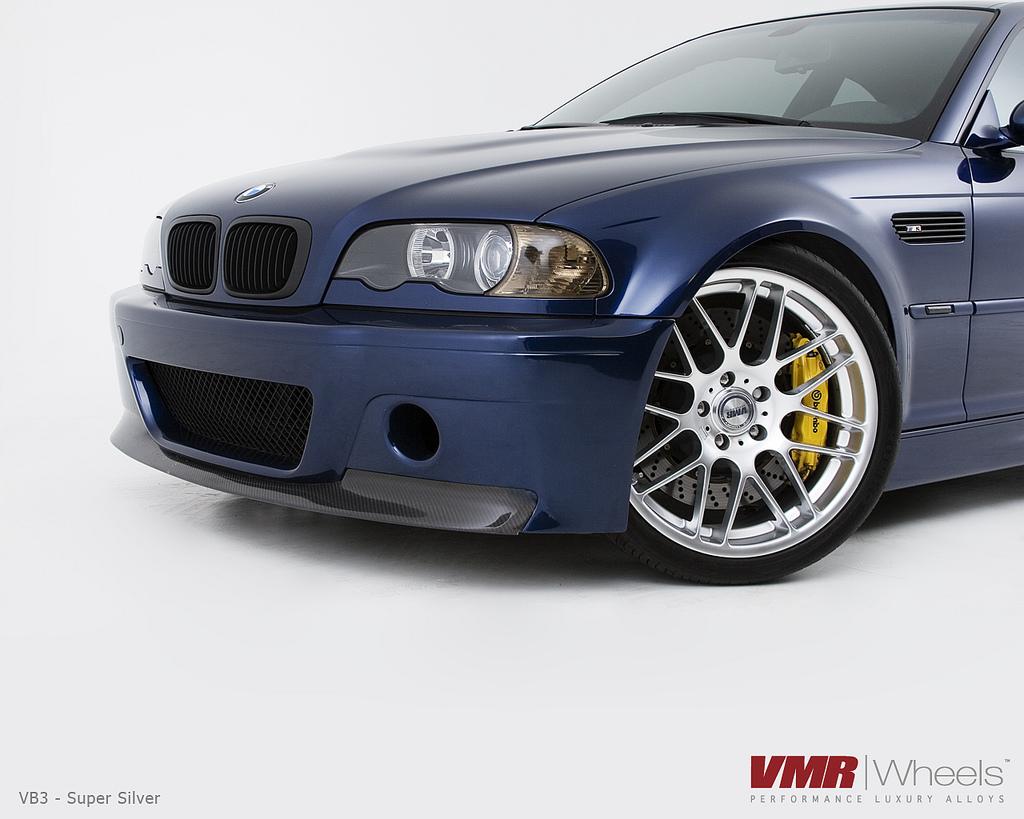"""VMR Wheels VB3 CSL Replica 19"""" Silver on Blue E46 M3 close"""