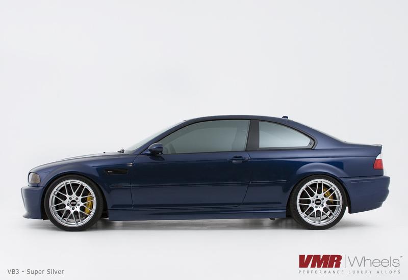 "VMR Wheels VB3 CSL Replica 19"" Silver on Blue E46 side view"