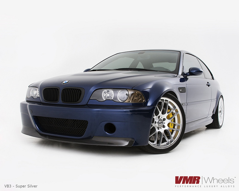 VMR Wheels VB3 CSL Style 18in Super Silver Non Staggered on Blue E46