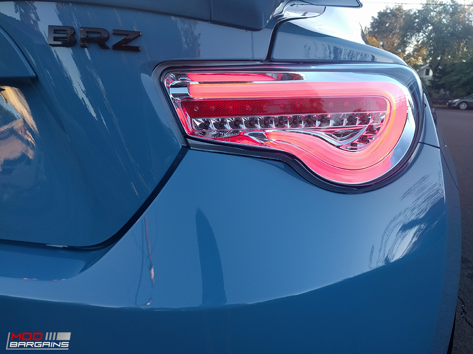 Light Blue and Chrome Valenti Tail Lights on 2013+ Scion FR-S