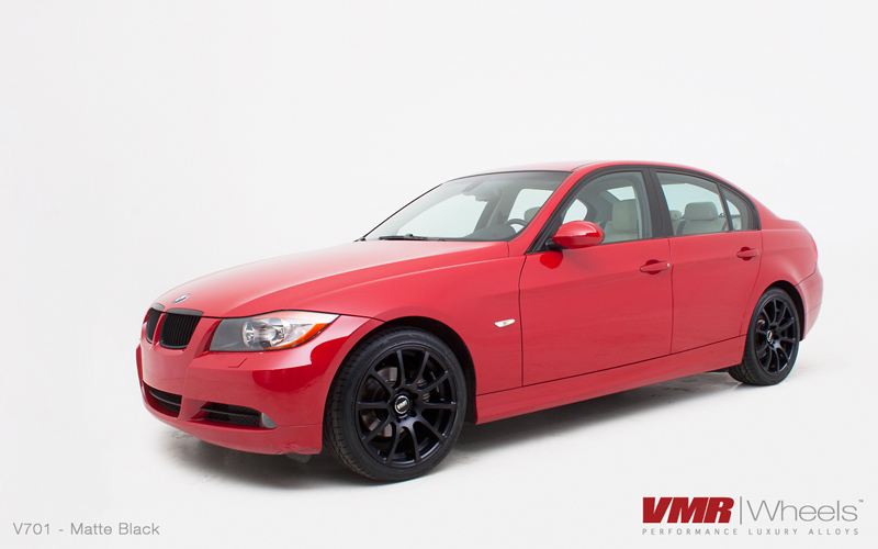 VMR Wheels V701 Advan RS Style Matte Black Finish on red E90
