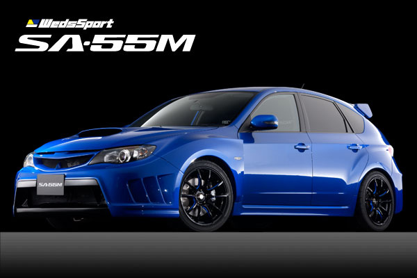 WedsSport SA55M Wheels Black Blue Machining Subaru WRX Hatch Front