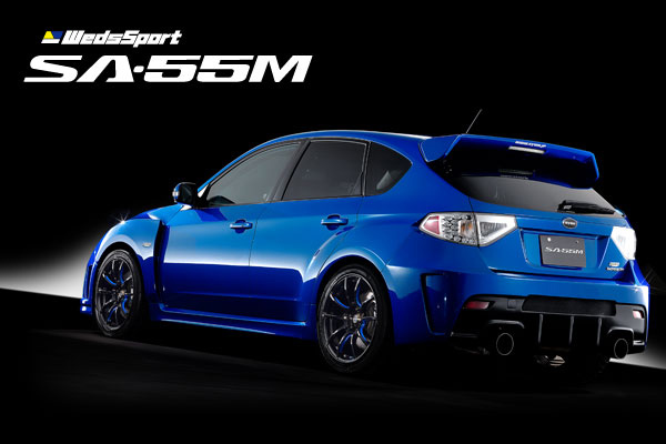 WedsSport SA55M Wheels Black Blue Machining Subaru WRX Hatch