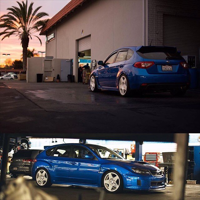 Blue WRX with fifteen52 Tarmac Wheels