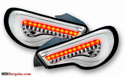 Valenti LED Tail Lights Scion FR-S Subaru BRZ White and Chrome ALENTI-FT86-TL-C