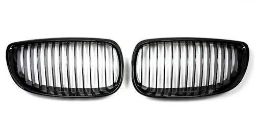 Gloss Black Kidney Grilles 2007-10 BMW 3-Series Non-M Coupe/Vert [E92/E93] Pre-LCI