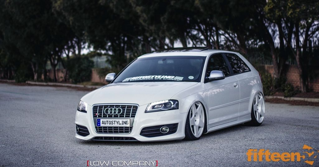 White Audi S3 with white fifteen52 tarmac wheels