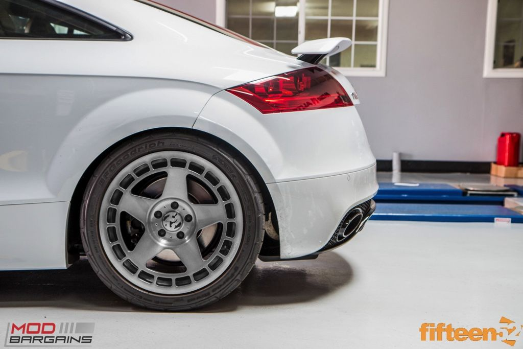 White Audi TT RS with fifteen52 turbomac wheels